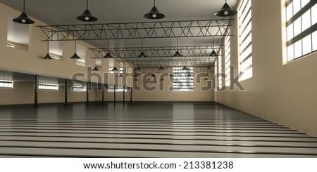 Industrial warehouse inside, 3d render - stock photo