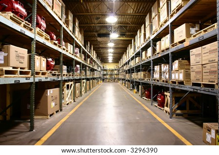 Industrial Warehouse - wide angle view. - stock photo