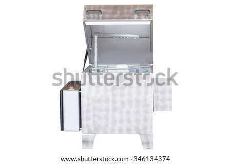 industrial washing machine isolated under the white background - stock photo