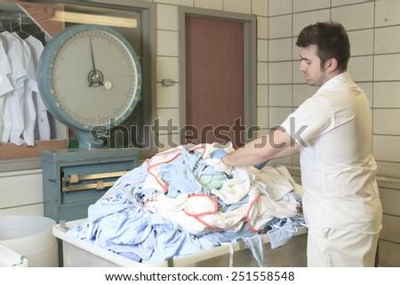 Industrial washing machines - stock photo