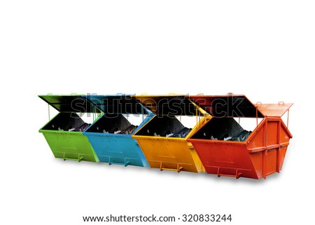 Industrial Waste Bin (dumpster)  isolated on white background,  - stock photo