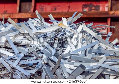 industrial waste in a container - stock photo