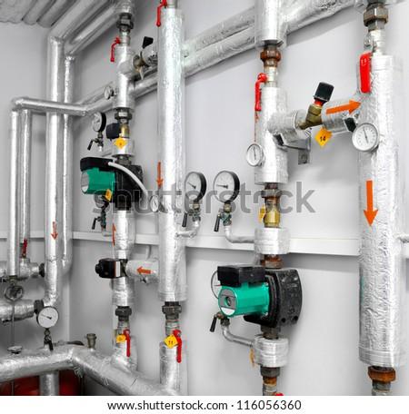 industrial water pipeline - stock photo