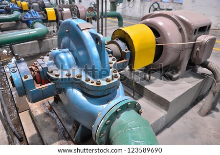 Industrial water pump - stock photo