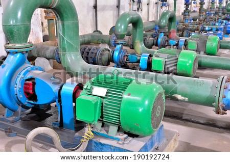 Industrial water pump station - stock photo