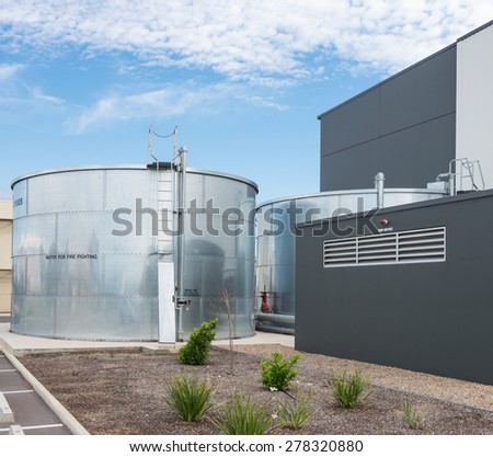 industrial water tank for fire fighting - stock photo
