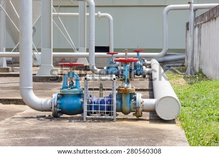 Industrial water valve - stock photo