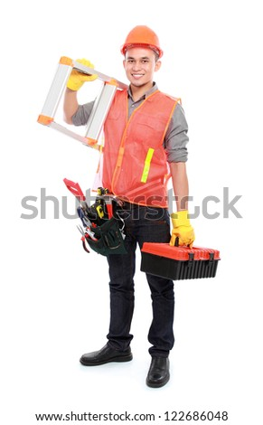 industrial worker bring ladder and equipment ready to work - stock photo