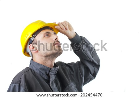 industrial worker in action on white background - stock photo