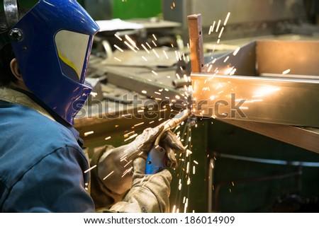 Industrial Worker Welder welding metal at factory workshop with flying sparks