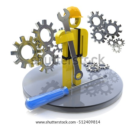 Industrial worker with wrench and gears in the design of the information related to the work and profession. 3d illustration