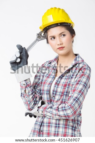 Industrial worker woman . Isolated over white background