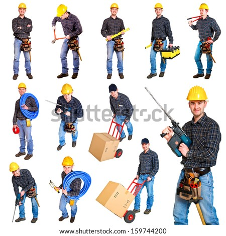 Industrial workers isolated on white background - stock photo