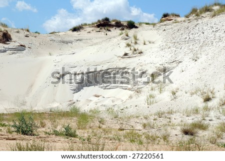 Industrial working out of white forming sand in an opencast mine