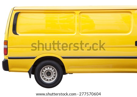 Industrial yellow van on a white background, room for text ,logo or copy space - stock photo