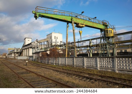 Industrial zone - old factories and warehouses - stock photo