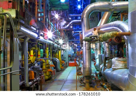 Industrial zone.  Pipeline of a high pressure  - stock photo