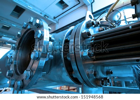 Industrial zone, Steel pipelines and cables - stock photo