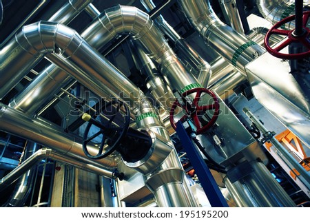Industrial zone, Steel pipelines and equipment - stock photo