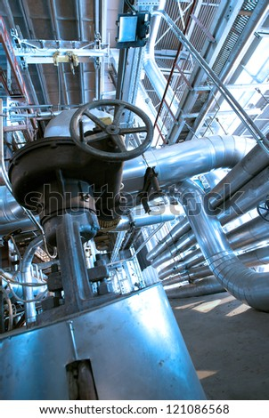 Industrial zone, Steel pipelines and equipment in blue tones