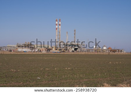 Industry and refinery processing of crude oil and gas - stock photo