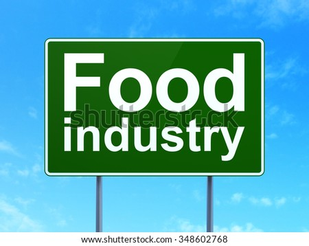Industry concept: Food Industry on green road highway sign, clear blue sky background, 3d render