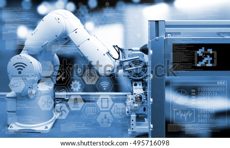 Industry 4.0 concept .Industry graphic sign and blue tone of automate wireless Robot arm in smart factory background. blue tone