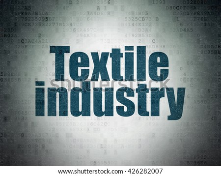 Industry concept: Painted blue word Textile Industry on Digital Data Paper background