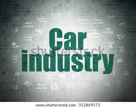 Industry concept: Painted green text Car Industry on Digital Paper background with  Hand Drawn Industry Icons