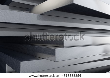 Industry concept. Stack of marble plates extreme closeup