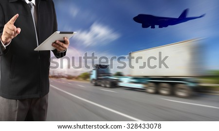 industry container trains running on railways track cargo plane flying over ship port use for land ,air and ship transportation in logistic business industry ,import export shipping service  - stock photo