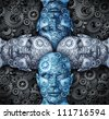 Industry cooperation and partnership working together as a team connecting their ideas to find successful unified solutions with human head shapes made of gears and cogs. - stock photo
