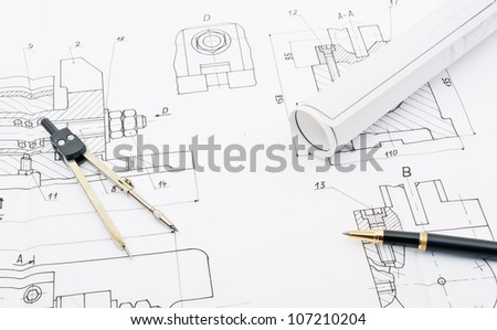 industry drawings and blueprints concept - stock photo