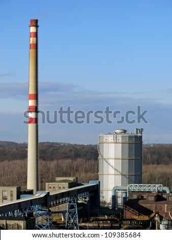 Industry, factory with chimney in Ostrava, Czech Republic