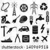 industry icons collection (power plug, oil barrel, hammer, construction workers hard hat, fuel pump, water tap, radio antenna, lightning symbol, energy saving light bulb) - stock vector