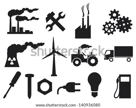 industry icons collection (power plug, screwdriver, industrial plant, nuclear power plant, nuclear power plant, growing gears, light bulb, metal nut, tractor, truck, wrenches and hammer) - stock photo