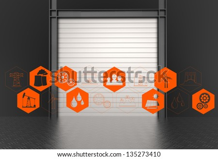 industry icons on industry gate background as concept design - stock photo