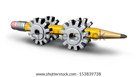 Industry innovation and strategic creativity concept with a three dimensional yellow pencil on four gear or cog wheels as a metaphor for business invention and development going forward to success. - stock photo