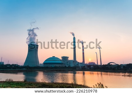 industry landscape of power plant in sunset  - stock photo