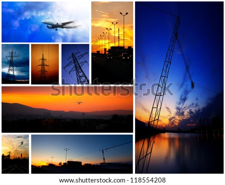 industry low light picture combine in collage - stock photo
