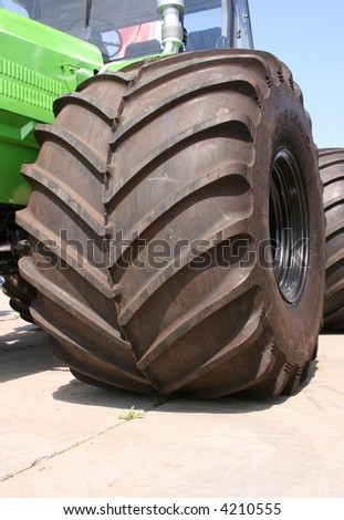 industry machine tires view - stock photo