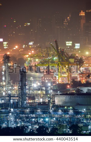 Industry oil and gas production petroleum pipeline. port