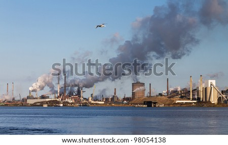 Industry on the riverside - stock photo