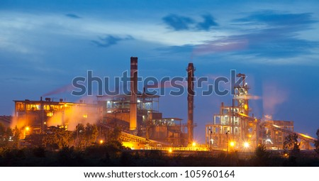 Industry plant during sunset in Thailand - stock photo
