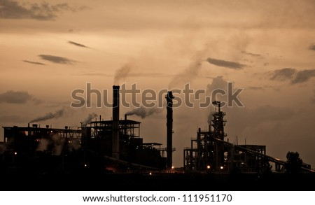 Industry plant during sunset in Thailand