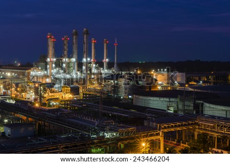 Industry power plants with light twilight time and  blue sky. - stock photo