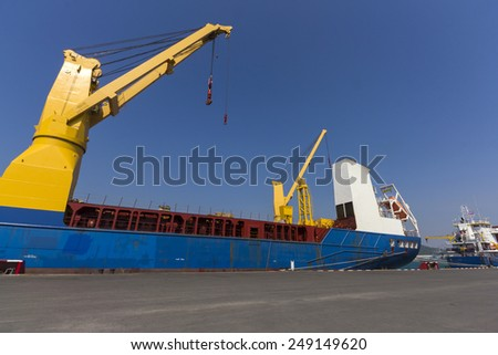 Industry ship at port - stock photo
