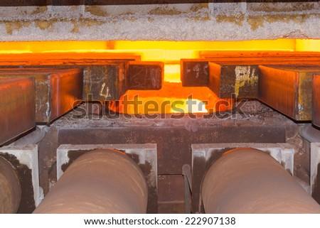Industry steel, Charging slab in Furnace. - stock photo