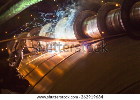 Industry steel, Sparks from welding. - stock photo