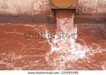 Industry steel, Waste water pond. - stock photo